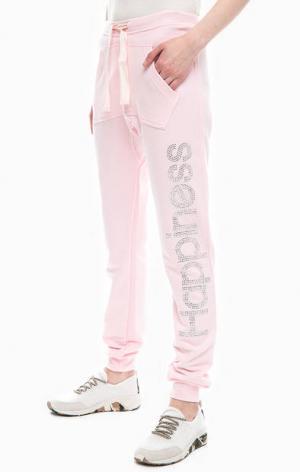 Розовые брюки с отделкой стразами Happiness. Цвет: розовый