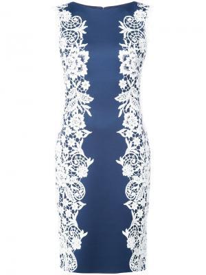 Приталенное платье с цветочной вышивкой Tadashi Shoji. Цвет: синий