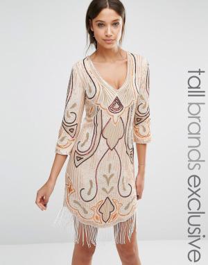 Maya Tall Платье мини с рукавами 1/2. Цвет: мульти