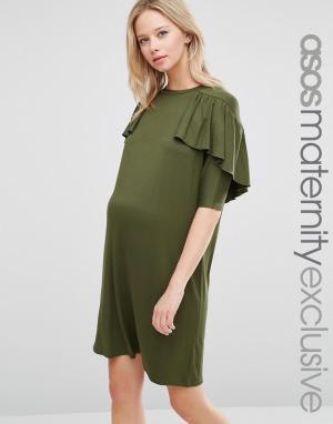 ASOS Maternity Платье-футболка для беременных. Цвет: зеленый