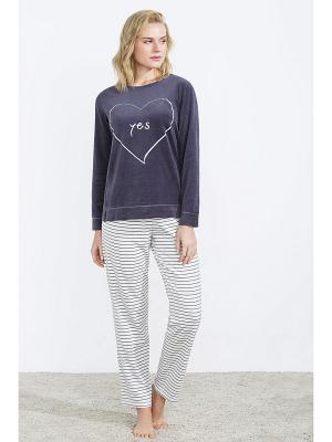 Пижама Women' Secret. Цвет: темно-серый, белый