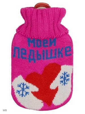 Грелка водяная Моей ледышке (в вязаном чехле, 500 мл) А М Дизайн. Цвет: лазурный, фиолетовый, красный, белый