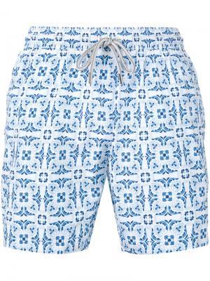 Пляжные шорты с геометрическим принтом листьев Capricode. Цвет: синий