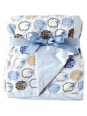 Плед на плюшевой подкладке Овечки Hudson Baby. Цвет: голубой