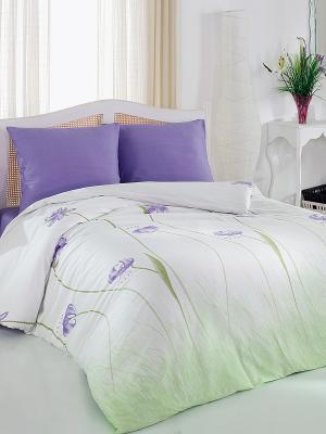 Комплект постельного белья Виола Тет-а-Тет. Цвет: белый, светло-зеленый, фиолетовый