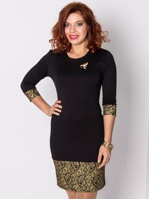 Платье Lautus. Цвет: черный, золотистый