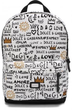 Рюкзак с принтом Dolce & Gabbana. Цвет: белый