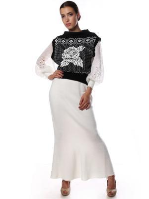 Жилет вязаный Роза белая на черном универсальный SEANNA. Цвет: черный
