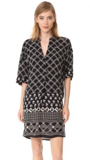 Платье с принтом в клетку Whistles. Цвет: черный/белый