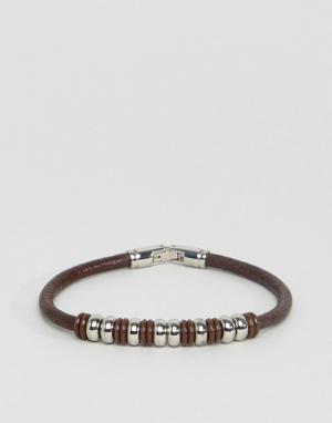 Seven London Коричневый кожаный браслет с бусинами. Цвет: коричневый