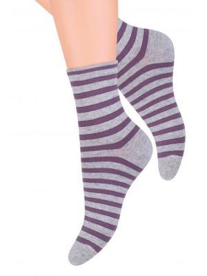 Носки женские Steven, 38-40, серый меланж / фиолетовый Steven. Цвет: серый меланж, фиолетовый