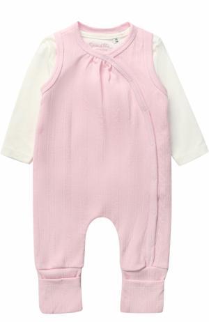 Комплект из хлопковой футболки и ползунков Sanetta Fiftyseven. Цвет: розовый