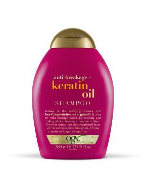 Шампунь против ломкости волос с кератиновым маслом OGX. Цвет: белый