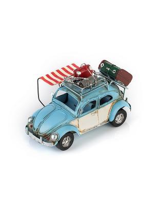 Модель Ретро Автомобиль синий с белым, фоторамкой 4х5см PLATINUM quality. Цвет: синий, белый