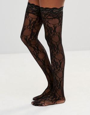 Leg Avenue Носки с цветочным кружевом Stay Up. Цвет: черный