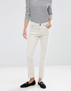 ASOS Бежевые джинсы прямого кроя. Цвет: белый