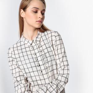 Блузка в клетку с декоративным украшением SUNCOO. Цвет: в клетку/белый