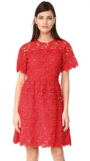 Платье с короткими рукавами Giambattista Valli. Цвет: красный