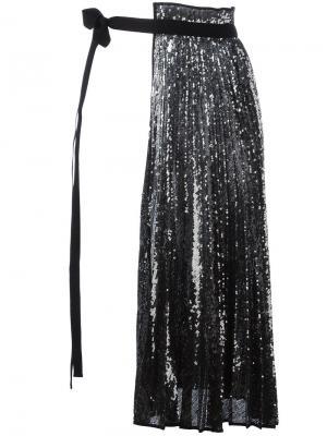 Плиссированная юбка с контрастными панелями Nº21. Цвет: чёрный