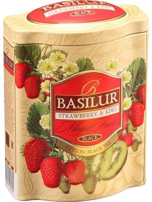 Чай Basilur ВОЛШЕБНЫЕ ФРУКТЫ Клубника и киви, 1 БАНОЧКА. Цвет: зеленый, бежевый, красный