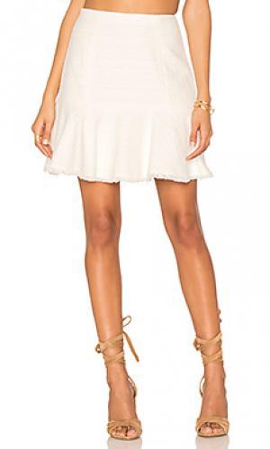 Текстурированная юбка из твида Rebecca Taylor. Цвет: белый