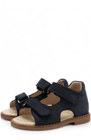 Замшевые сандалии на застежках велькро Gallucci. Цвет: синий