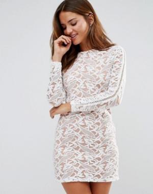 Pixie & Diamond Кружевное платье мини. Цвет: кремовый