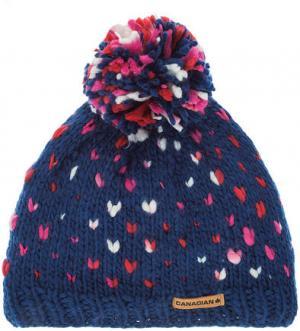 Синяя шапка с текстильным помпоном CANADIAN. Цвет: синий