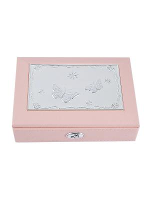 Шкатулка ювелирная MORETTO. Цвет: серебристый, бледно-розовый, светло-серый