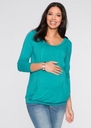 Мода для беременных: футболка с функцией кормления (бирюзовый матовый) bonprix. Цвет: бирюзовый матовый