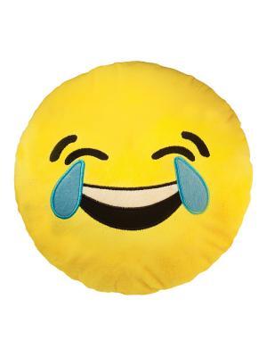 Большая подушка-смайлик Смеюсь до слез 35 см SOXshop. Цвет: желтый
