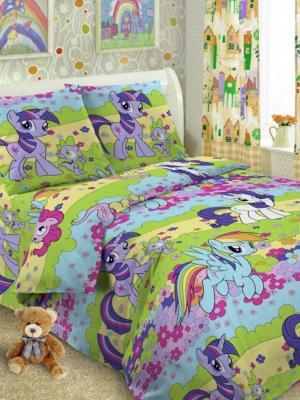 Детский комплект постельного, 1,5-спальный, наволочка 50*70, хлопок Letto. Цвет: зеленый, голубой, желтый, розовый
