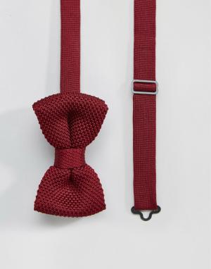 7X Бордовый вязаный галстук-бабочка в футляре. Цвет: красный
