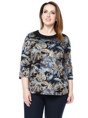 Блузка Лала Стайл. Цвет: черный, золотистый, серый
