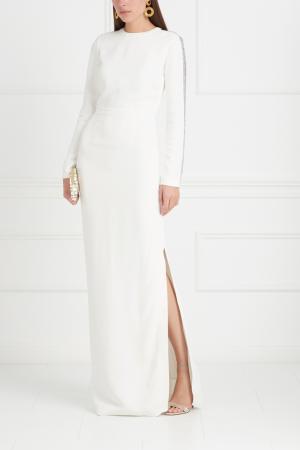 Однотонное платье Cora Gabriela Hearst. Цвет: слоновая кость