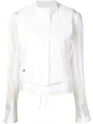 Укороченная куртка с панельным дизайном Ann Demeulemeester. Цвет: белый