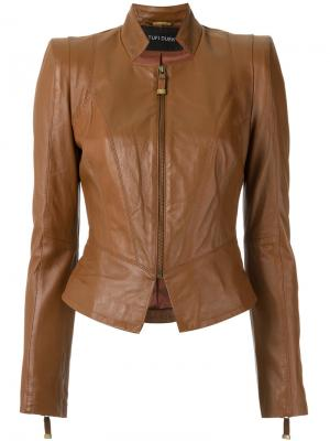 Panelled leather jacket Tufi Duek. Цвет: коричневый