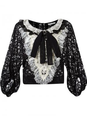Кружевная блузка с манишкой Martha Medeiros. Цвет: чёрный