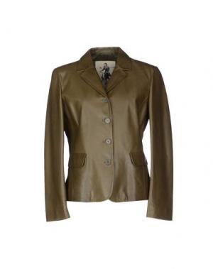Верхняя одежда из кожи MARIELLA BURANI. Цвет: зеленый-милитари