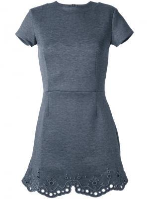 Платье с люверсами на подоле Carven. Цвет: серый