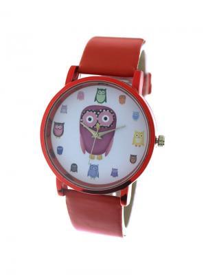 Дизайнерские часы Совы Tina Bolotina. Цвет: красный, белый, желтый