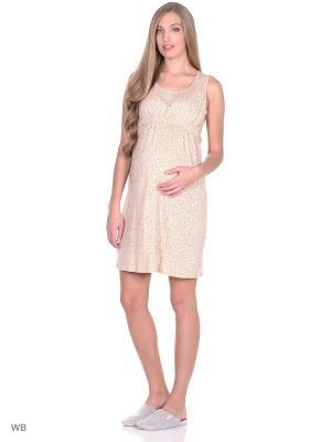 Ночная сорочка для беременных и кормящих ФЭСТ. Цвет: персиковый, серый