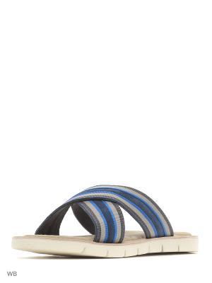 Шлепанцы GEOX. Цвет: синий, белый, темно-синий