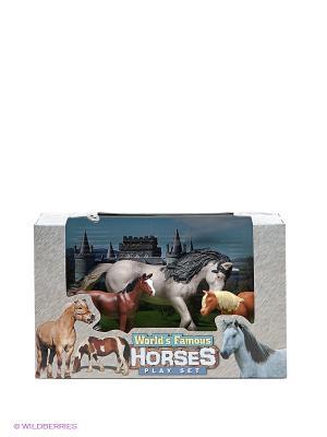 Игровой набор Лошади Happy Kin. Цвет: темно-коричневый, серый, светло-коричневый