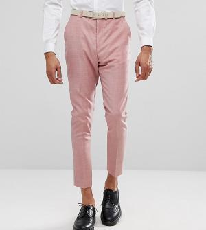 ASOS Розовые суженные книзу брюки из 100% шерсти TALL WEDDING. Цвет: розовый