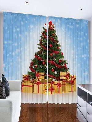 Фотошторы Ёлка с подарками, 290*265 см Magic Lady. Цвет: голубой, желтый, зеленый