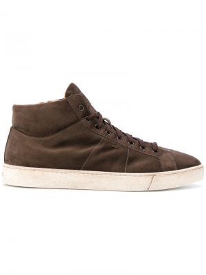 Кеды на шнуровке Santoni. Цвет: коричневый
