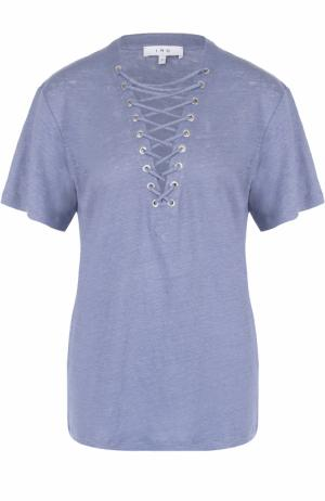 Удлиненная льняная футболка со шнуровкой Iro. Цвет: голубой