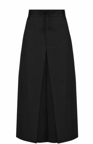 Укороченные шерстяные брюки с защипами Yohji Yamamoto. Цвет: черный