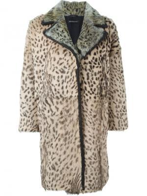 Меховое леопардовое пальто Inès & Maréchal. Цвет: телесный
